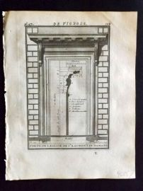 Vignola 1720 Architectural Print. Door at Church of St. Laurent in Damaso 45